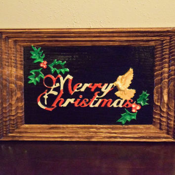 Merry Christmas Painted Wood Wall Art Christmas Hand Carved Painted Wall Hanging Christmas Decor Unique Wood Gifts Handmade in USA - Texas
