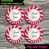 """Thank you - Cupcake toppers - Red Crimson - Instant Download - Party printable - Party favor - Candy Bar - 5 cm / 2"""""""