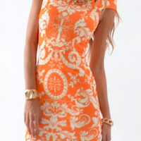 Orange Bohemian Printed Mini Dress