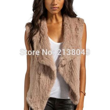 SF0048 Australia Best Selling Top Quality Knitted Real Rabbit Fur Vest