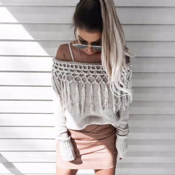 Tassel Me Down Off-Shoulder Knit Sweater