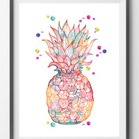 Printable Pineapple, Pineapple digital Print Pineapple instant download Pineapple printable poster Pineapple digital illustration Fruit art