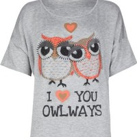 FULL TILT Love You Owlways Girls Tee: Clothing