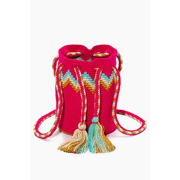 Chicle Special Edition Bucket Bag - Hot Pink & Rainbow Chevron Print