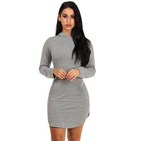 Grey Long Sleeve Hooded Cotton Mini Dress