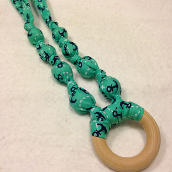 Lil' Anchors Fabric teething ring necklace, fabric nursing necklace, breastfeeding necklace, baby wood teething ring, babywearing