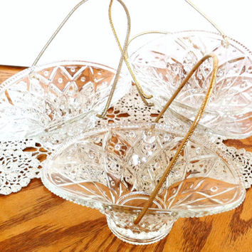 Glass Candy Dish Set of 4 , Avon Vintage Dishes , Collectible Glass Baskets , Easter Basket , Candy Basket