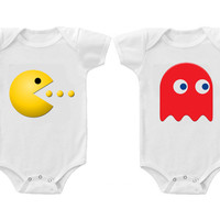 Twins Baby Boys Girls Funny Bodysuits Creeper Pac Man & Ghost