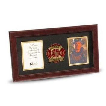 4 by 6 Double Picture Frame for Firefighter Medallion Hand Made By Veterans