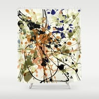 splash and leaves Shower Curtain by clemm