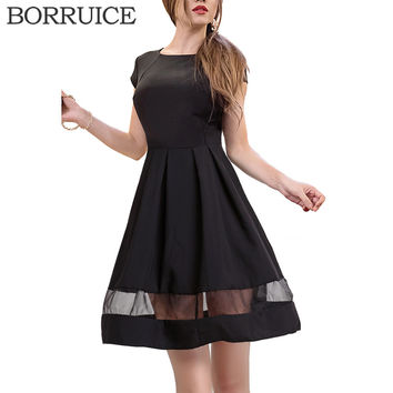 BORRUICE Brand Women Dress Fashion Gauze Splice Black Dresses Plsu Size Women Clothing Summer Dress Sexy Vintage Office Dresses
