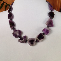 Chunky Amethyst and Grey Agate Handcrafted Necklace, Chunky Amethyst Slab Freeform Statement Necklace, Birthstone Necklace