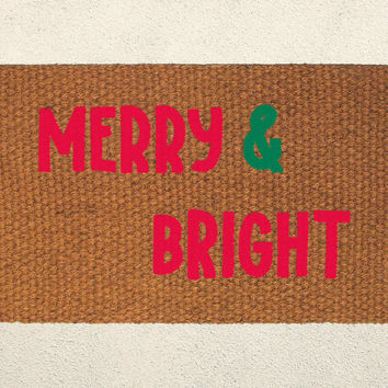 Merry and Bright – Holiday Doormat  – Welcome Mat - Outdoor Rug - Home Decor, Holiday Decor, Christmas Decor, Seasonal Decor