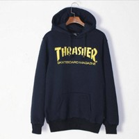The new tide brand Thrasher velvet couple thin section hooded Harajuku Harajuku tide men