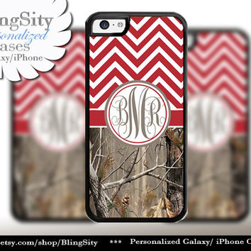 Red Chevron Monogram iPhone 5C 6 Case Plus iPhone 5s 4 Ipod 4 5 Touch case Real Tree Camo Zig Zag Personalized Country Girl