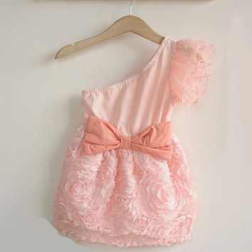 New Baby Kids One Shoulder Lace Dress Toddler Girls One Piece Dresses Bow-knotSM6