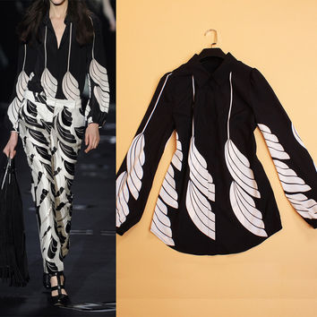 High-Quality 2016 Summer And Autumn New Women's Fashion Retro Elegant Feather Print Long-Sleeved Shirt Lapel Wild Free Shipping
