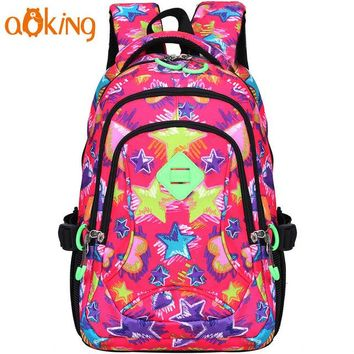 School Backpack Aoking Lightweight Flower Printing Backpack for Women Daily Leisure  for Girls Waterproof Nylon Causal Backpack AT_48_3