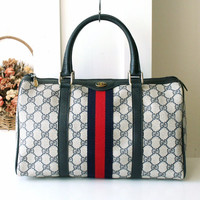 Gucci Bag Vintage Monogram Boston Tote Bag Authentic