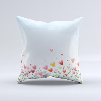 Field of Blooming Hearts ink-Fuzed Decorative Throw Pillow