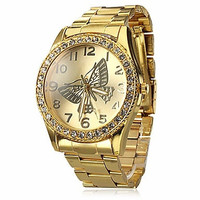 Women's Butterfly Pattern Diamond Case Gold Steel Quartz Analog Wrist Watch 684104 = 1956522820