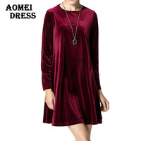 Long Sleeve Women Velvet Dresses Elegant Autumn Winter Slim Fashion Casual Vestidos Plus size Wine Red Blue Robe Gowns Clothing