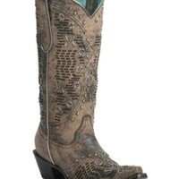 Corral Women's Vintage Sahara Sand & Black Woven with Studs Snip Toe Western Boot