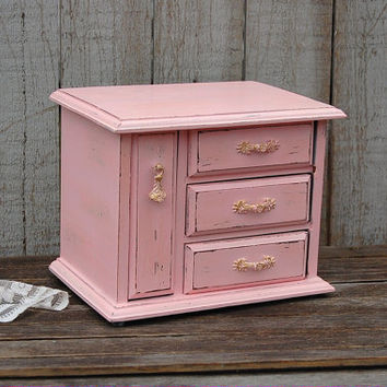 Jewelry Box, Music Box, Shabby Chic, Pink, Gold, La Vie en Rose, Upcycled, Hand Painted, Waxed, Wood