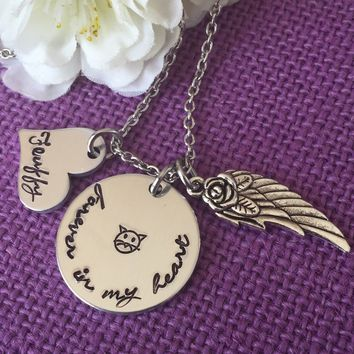 Pet Memorial Jewelry Necklace - Cat Memorial Jewelry - Pet Loss Gift - Personalized Dog Remembrance Jewelry - Forever in My Heart Dog