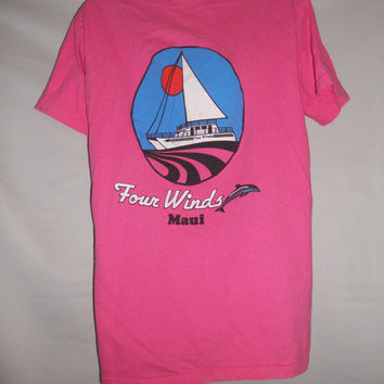 Vintage 80s Four WInds Maui Hawaii Pink Sailboat Sun T Shirt Size Medium