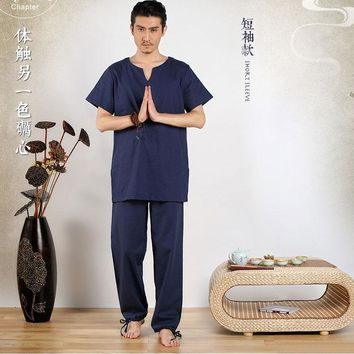 Summer Men's Cotton Yoga Clothing Suit Yoga Meditation Suits