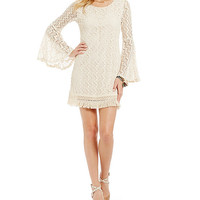 Jodi Kristopher Fringe Hem Lace Dress | Dillards