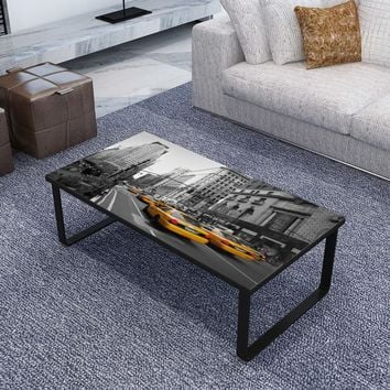 Rectangular Coffee Table Side Sofa Print on Glass