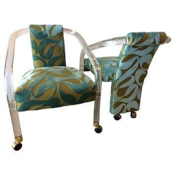 Pre-owned Charles Hollis Jones Lucite Chairs - A Pair