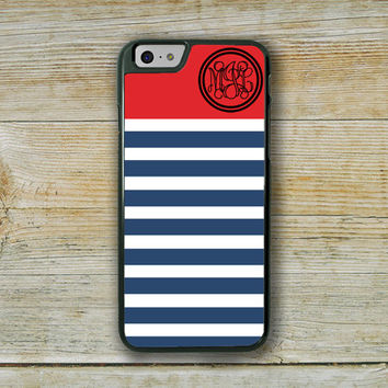 Preppy Iphone 6 case, Nautical phone case, Navy blue stripes with red, Cute phone case, Striped Iphone case, Red Iphone 6 cover girls (9871)