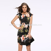 Summer Hot Fashion Chinese Dress Cheongsam Plus Size Maxi Floral Printed Casual Sexy Short Sleeve Slim Bodycon Pencil Dress
