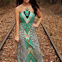 Tribal Princess Maxi Dress - Mint