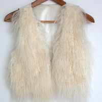 Genuine Sheep Fur Hair Size Small Cropped Style Vest (Anthropologie)