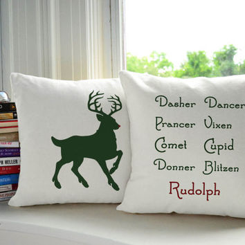 Reindeer Pillow Set - Christmas Pillow Covers and or Cushions, Rudolph Print Pillow, Holiday Decor, Home goods, Christmas Themed Pillow,