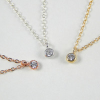 Crystal necklace rose gold, cz necklace, rose gold cubic zirconia, simple necklace, small cz, mother's day gift, mother necklace.