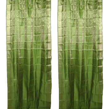 2 Sari Curtains Spring Green Brocade Silk Saree Drapes Window Panels