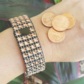 Copper Fit Bling, CHARGE HR, SURGE, Fitbit Bling, Fitbit Cover, Fitbit Stylish Wrap, Fitbit Rhinestone, Bedazzled Fitbit, Fitbit Bracelet