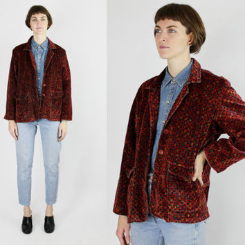 vtg marbled blazer corduroy jacket maroon sport coat avant garde jacket red velveteen MEDIUM m