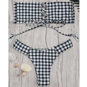 Folk-custom black white plaid print chest lace up off shoulder strapless two piece bikini