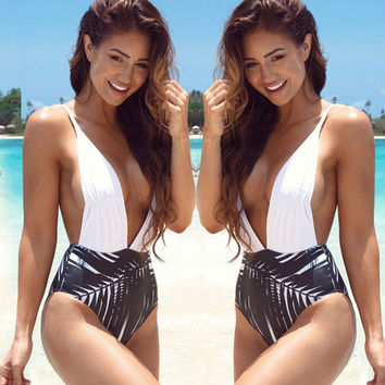 New Sexy Backless One Piece Swimsuit Biquini High Waist Swimwear Bodysuit Monokinis Women Beach Swim Halter V-Neck Bathing Suit