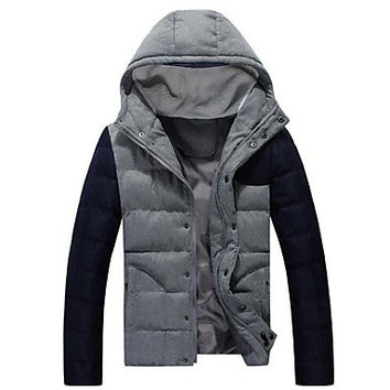 Men's Hooded Hitting Scene Cotton Padded Clothes