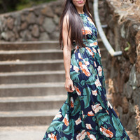 La Isla Bonita Navy Floral Maxi Dress