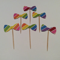 Rainbow Striped Bowtie cupcake toppers. Rainbow striped Partypicks, Party decor, Happy Birthday, Bridal shower, Baby shower;  12 per order