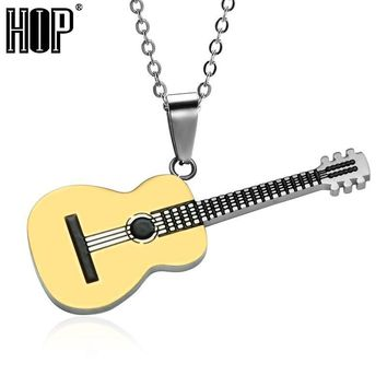 HIP Rock Two Tone Gold Color Titanium Stainless Steel Music Guitar Pendant Necklace for Men Jewelry