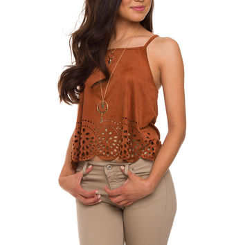 Alaska Suede Crop Top - Rust
